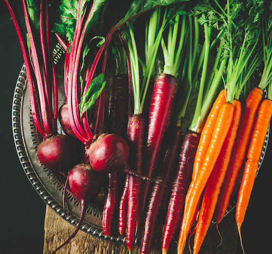 beetroot, carrots, purple carrots